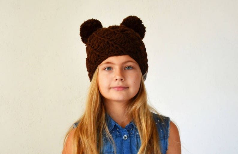 73a1a446af1 Two pom pom hat 22 COLORS brown bear ears beanie mouse hat
