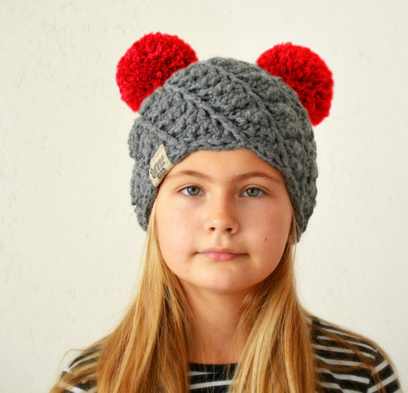 9d0fe566e Chunky knitted winter hat with two pom poms / You can be a designer for  Your dream hat - MIX Your favorite colors
