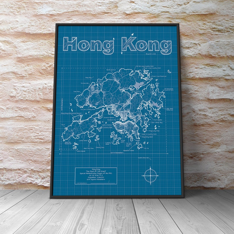 Hong Kong Map Original Artwork Wall Art Birthday Gift