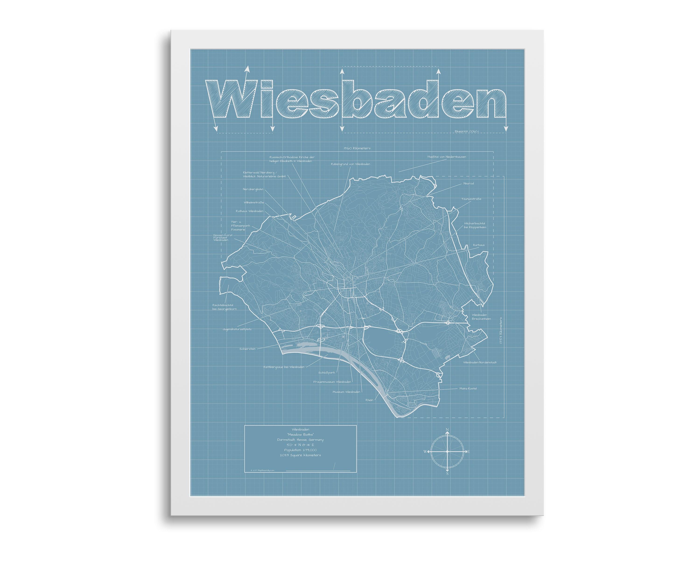 Wiesbaden Karte Wiesbaden Deutschlandkarte Wiesbaden Karte Etsy