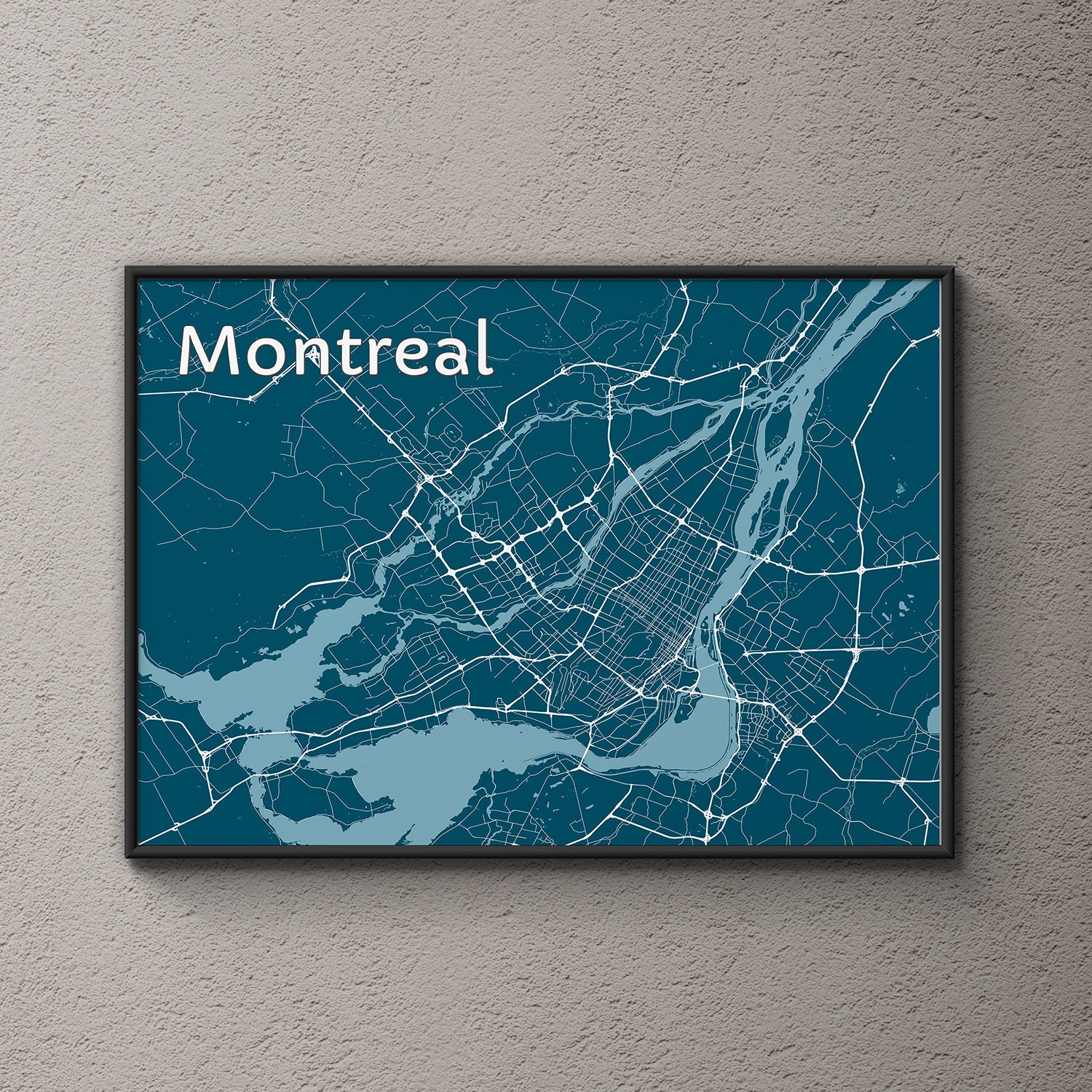Montreal Map / Original Art / Map Art / Street Map