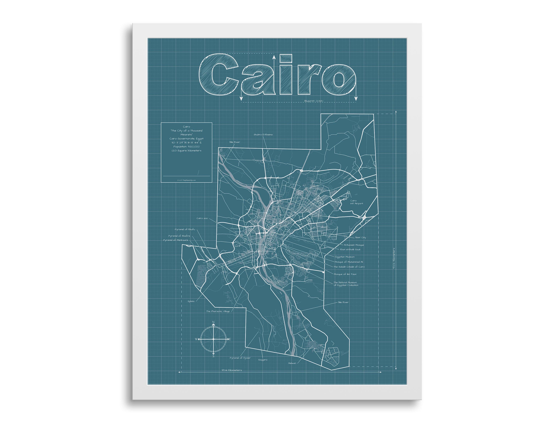Cairo Map - Cairo Egypt Map - Cairo Street Map - Cairo Wall Map - Cairo Map  Art - Cairo Art