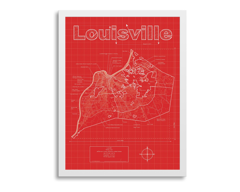 Louisville Map - Louisville Kentucky Map - Louisville Street Map -  Louisville Wall Map - Louisville Map Art - Louisville Art