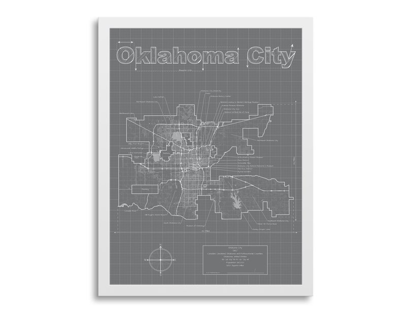 Oklahoma City Map Oklahoma City Oklahoma Map OKC Map | Etsy on