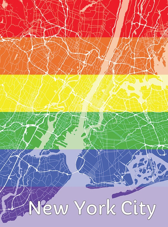 Gay New York Map.New York City Gay Pride Map Poster Etsy