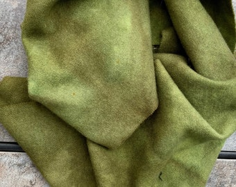 SEPTEMBER GRASS 3+  oz hand dyed  wool fabric remnant