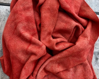 DARK WATERMELON colour dyed wool textured fabric for rug hooking