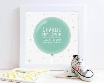 Balloon Birth Print // Birth Details Print // Birth Announcement Print // Nursery Decor // Nursery Print // Nursery Art // New Baby Gift