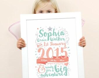 Celebration Birth Print // Birth Announcement // Birth Details Print // New Baby Gift // Nursery Art // Nursery Decor // Baby Girl Gift