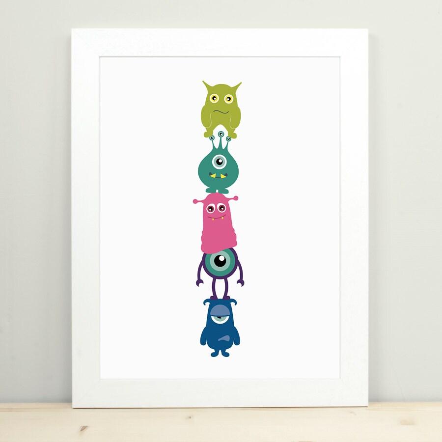 Childrens wandkunst monster art kinderzimmer dekoration etsy for Dekoration kinderzimmer