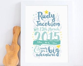 Celebration Birth Print // Birth Details Print // New Baby Gift // Nursery Art // Nursery Decor // Baby Boy Birth Print