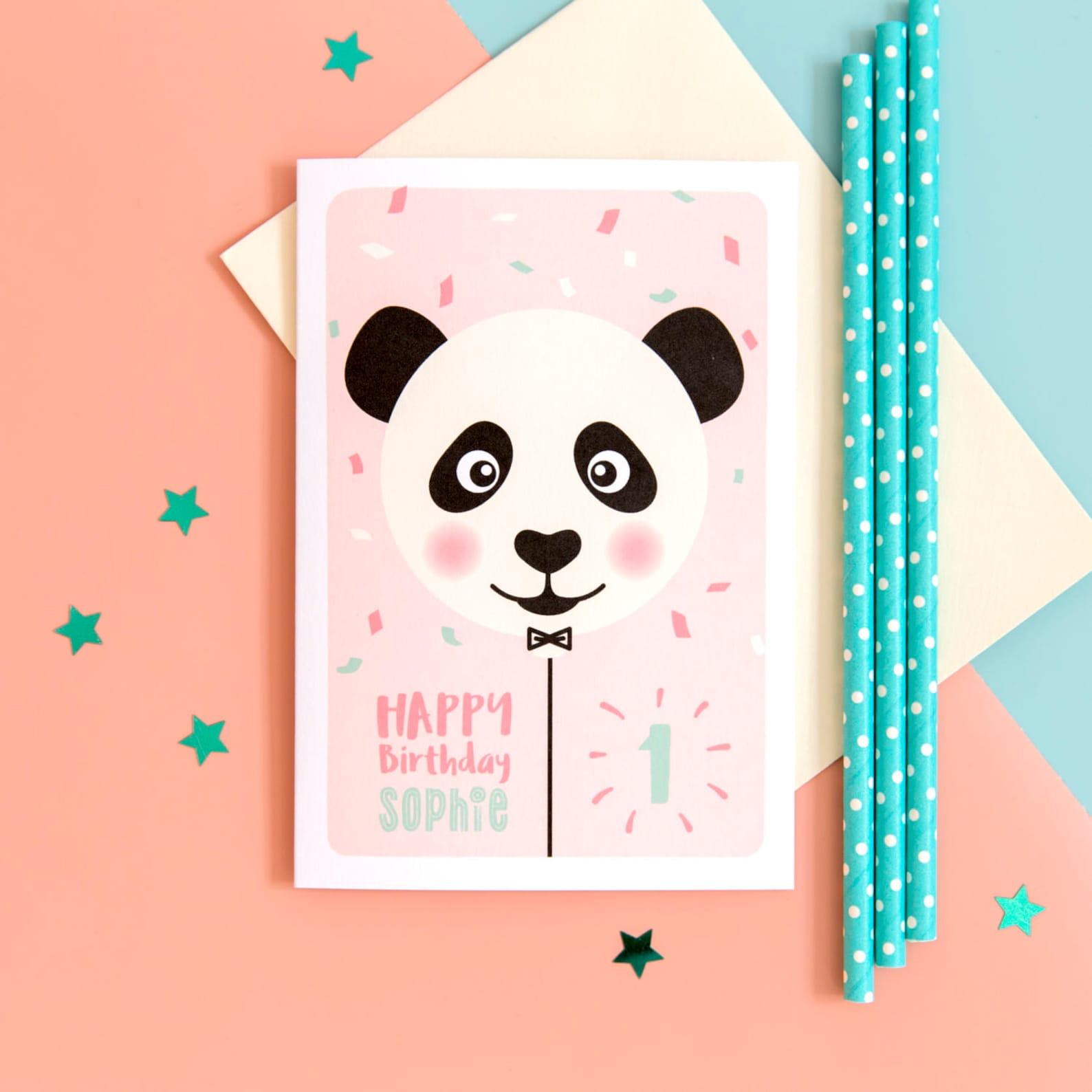 Panda 1st Birthday Card