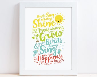 May the Sun Always Shine Nursery Print // Nursery Decor // Nursery Art
