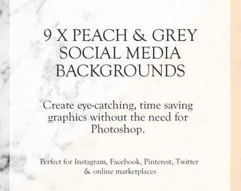 Social Media Templates - Peach & Grey - Shop Graphics - Social Media Templates Kit - Time Saving Shop Graphics