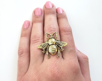 Copper Bee Cigar Band Ring,Beekeeper Gift,Rustic Bee Jewelry Bee Ring