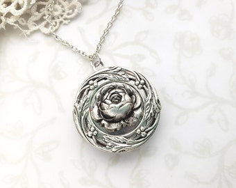 1335432bc7 Rose Locket Necklace, Leaves, Wreath, Silver, Beauty and the Beast  Enchanted Rose, Tale as Old as Time, Rose Garden Wedding, Victorian