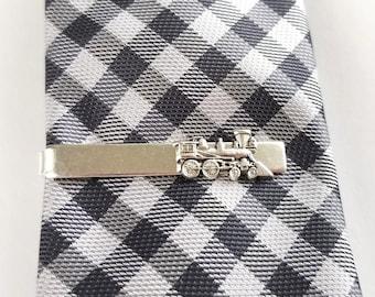 Silver Toned Etched Sleek Locomotive Train Tie Clip