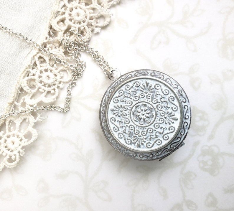 Hidden Message Summer Wedding You Are My Sunshine Silver with White Patina Layering Photo Locket Sunflower Locket Necklace