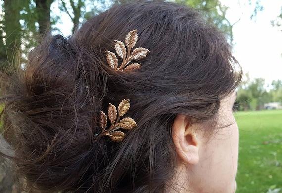 Leaves Bobbypins  Gold Leaf  hairpins brides bridesmaids flower wedding Hair