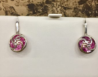 18k and sterling silver lab created pink sapphire dangle earrings