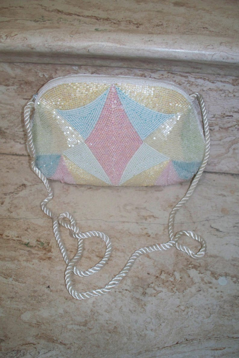 Vintage Micro Glass Pastel Beaded Special Occasion Rope Strap Shoulder Purse  Evening Bag  Clutch Bag  Beaded Handbag Pink Blue White