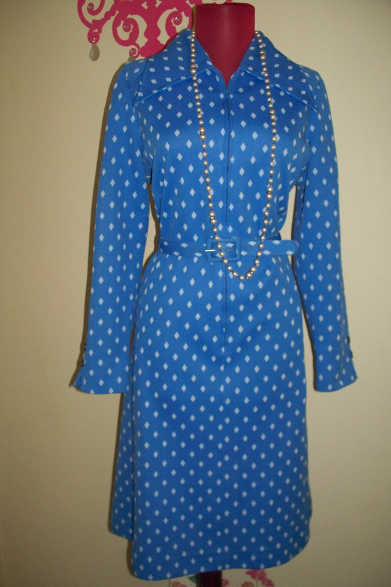 Vintage 70s  Serbin  Designed by Muriel Ryan Sky Blue with White Accent Belted Dress ML Vintage Dress