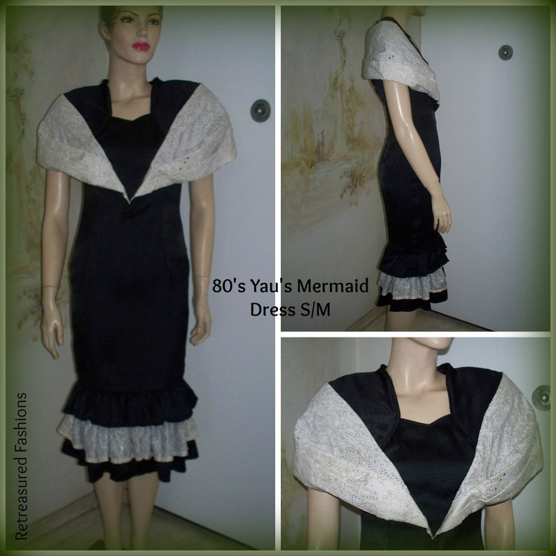 research 80's black and white dress