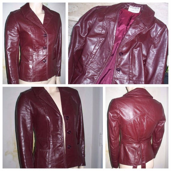 bec8fddf4 Vintage Fitted & Union Made Northside Fashions Burgundy Wine Genuine  Leather Women's Jacket / Coat / Leather Jackets sz 5 / Vintage Coats