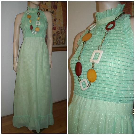Rare Vintage Minty Green with White Polka Dot Thro