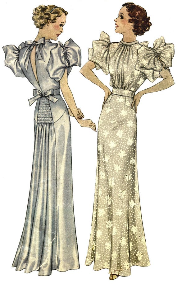 Vintage Sewing Pattern 1930 Evening Gown Art Deco Style 38 Etsy