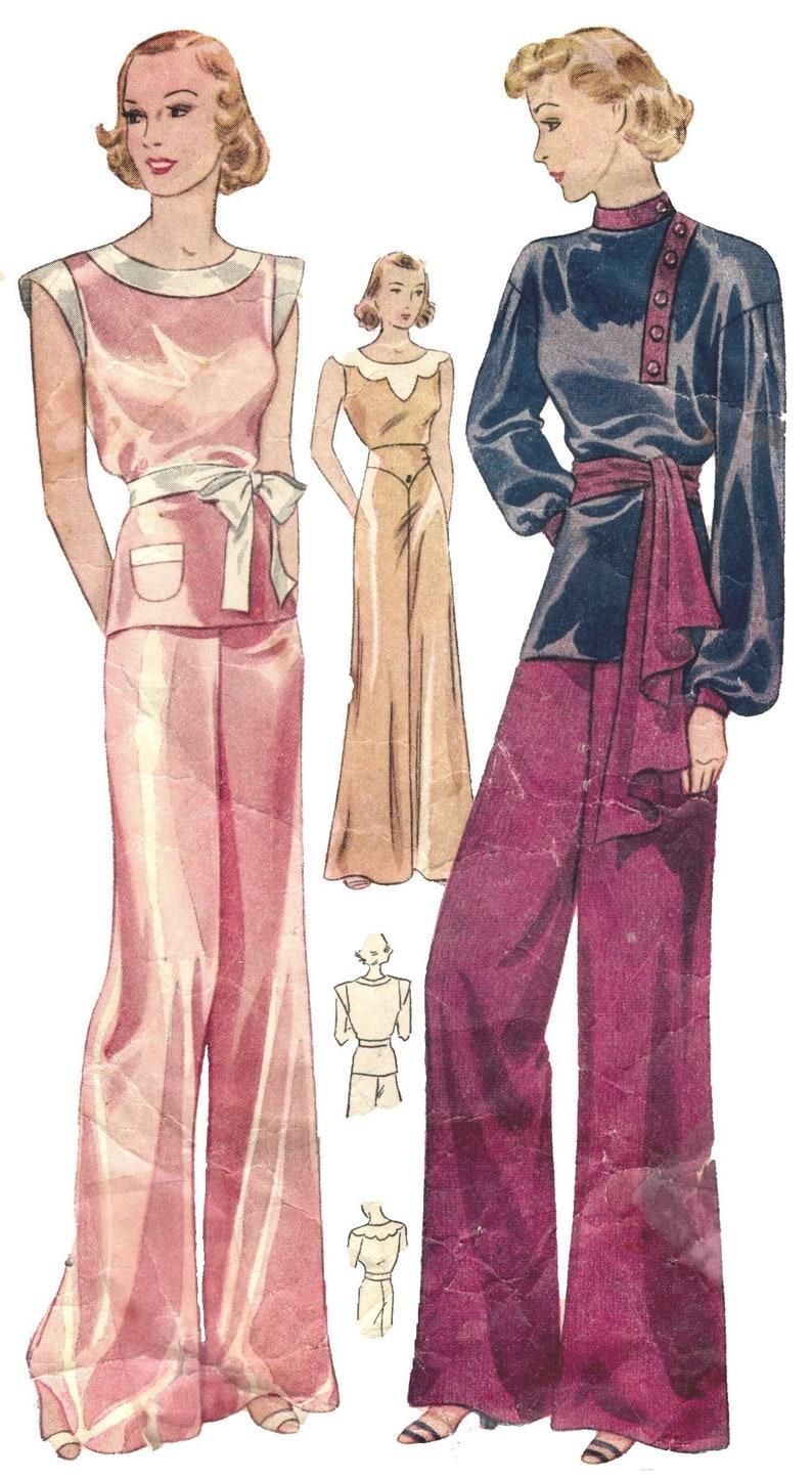 1930s Sewing Patterns- Dresses, Pants, Tops 1930 Pajamas 1930 Beach Pajamas 1930 Lingerie 1930 Pattern Retro Pajama $6.50 AT vintagedancer.com