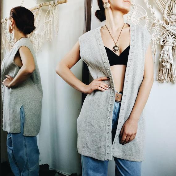 VINTAGE GRAY WOOL vest ~ vintage sweater ~ Angora… - image 2