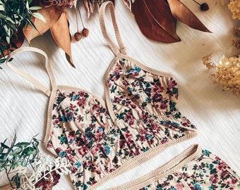 FLORAL RETRO BRA / vintage inspired flower print bralette pin up lingerie cute retro look soft bralette natural fabric bra custom size