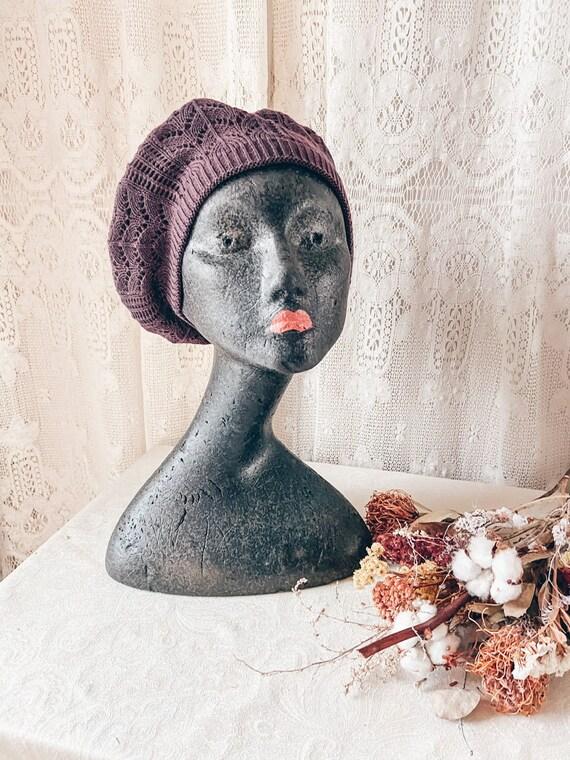 PURPLE COTTON BERET /  Beret hat, fall hat, winter