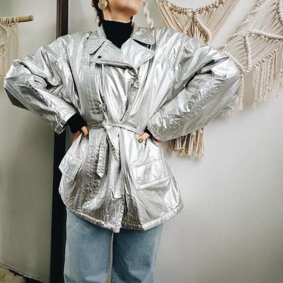 90s silver coat / silver jacket / 80s jacket / 80t