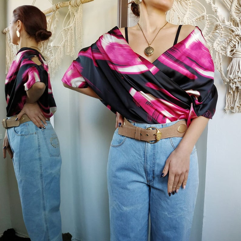 ABSTRACT PRINT blouse ~ Abstract print shirt ~ Abstract print top ~ Pink blouse ~ Black blouse ~ Birthday blouse ~ Dinner blouse