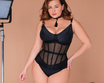 JAYNE PLUS SIZE corset black mesh bustier / corset plus size / underbust plus size corset / plus size bustier / bustier plus size