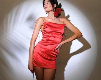 RED SATIN DRESS lingerie / sexy lingerie dress / open sides dress / luxury lingerie dress red / silk lingerie dress red slip chemise silk