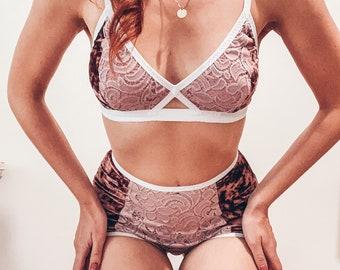 OPHELIA VELVET dusty pink Lingerie set / pin up lingerie pink lace bra vintage high waist knickers plus size vintage bra plus size underwear