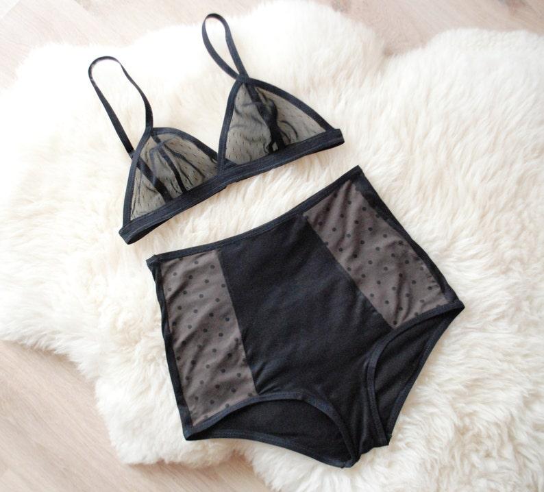 c8b7a8cca9 LINGERIE SET black underwear see through bralette sheer