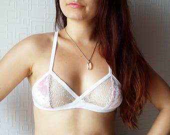 PINK VELOUR bralette ~ White bralette, French lace, Velour lingerie, Lace bra, Lace bralette, gift women, lace underwear, lace lingerie