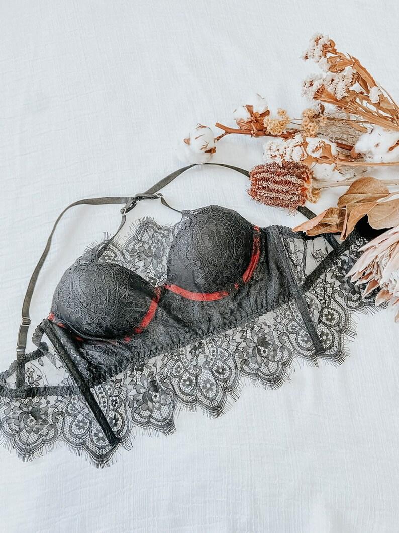 PADDED BLACK BRA  lace bra  lace bralette  black lace bra wire bra  padded bustier  lace bustier