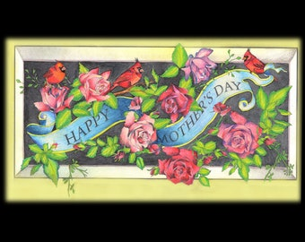 Coloring Book for Adults, Mother's Day, roses, birds