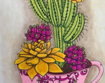 Coloring Book For Adults Cactus Flowers Tea Cup