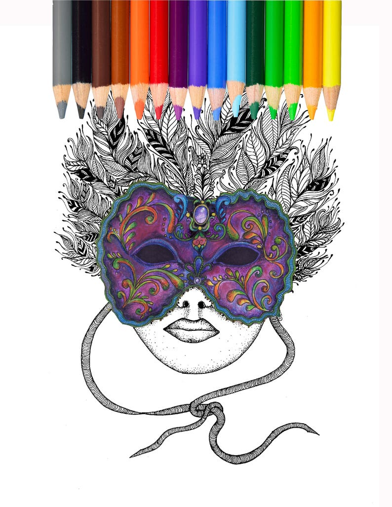 Kleurplaten Carnaval A4.Masker Carnaval Kleurplaat Mardi Gras Fantasy Etsy
