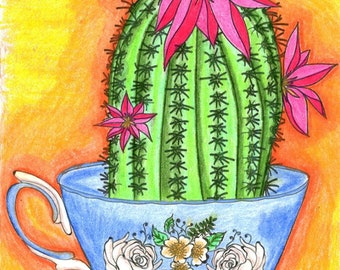 Coloring Book for Adults , cactus, flowers, tea cups