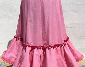 0c23b35567533 Upcycled Vintage Spanish Flamenco Gypsy Pretty Pink Pom Pom Dance Skirt  with Broderie Anglaise Lace 27