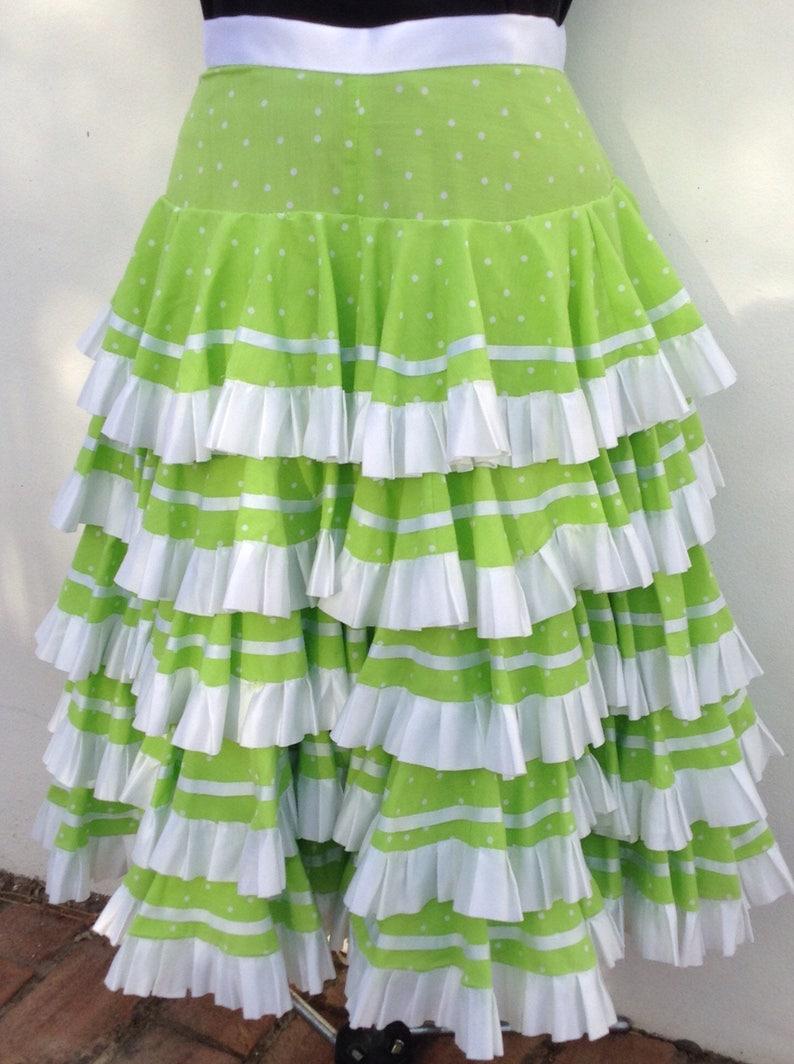 77.5cm Handmade Spanish Flamenco Gypsy Full Circle Skirt Lime GreenWhite Polkadots Satin Ribbons 30 Waist