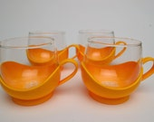 Vintage Jenaer Glas Style Glass Cups with Mod Plastic Holders by Melitta