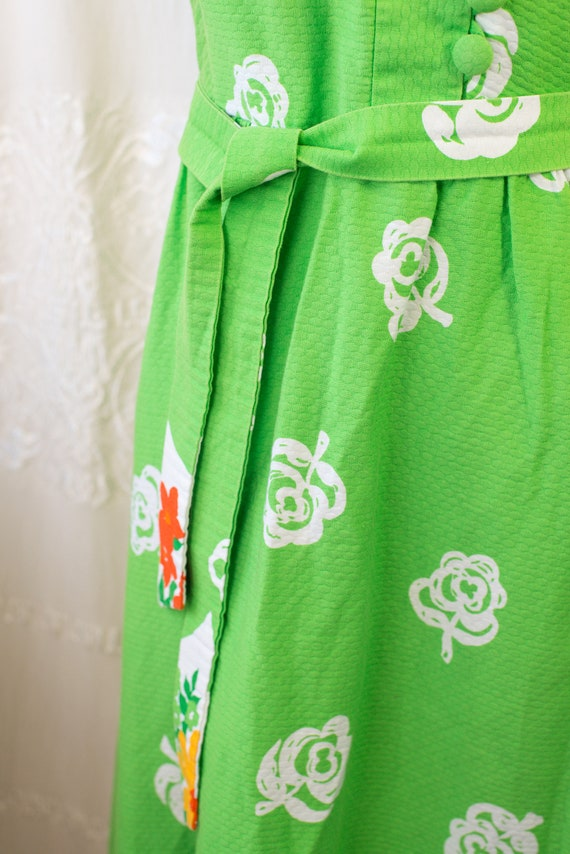 1960's or 70's Hawaiian Cotton Floral Maxi Dress … - image 6